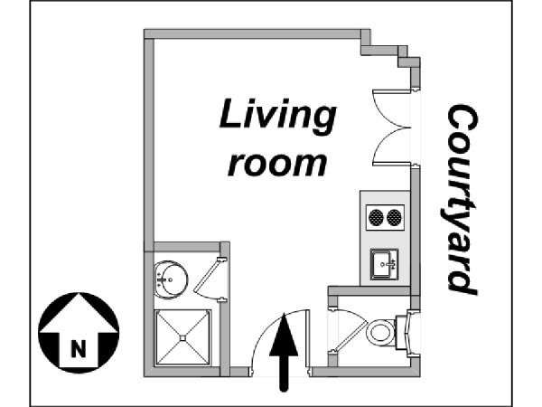 Paris Studio apartment - apartment layout  (PA-3809)