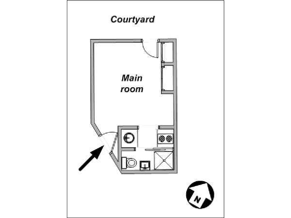 Paris Studio T1 logement location appartement - plan schématique  (PA-3820)