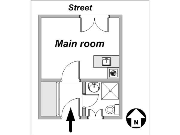 Paris Studio apartment - apartment layout  (PA-3823)