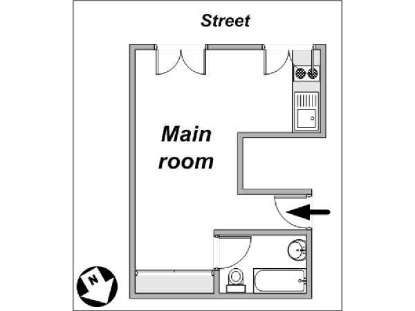 Paris Studio apartment - apartment layout  (PA-3964)