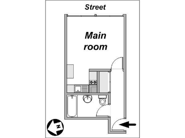 Paris Studio accommodation - apartment layout  (PA-4011)