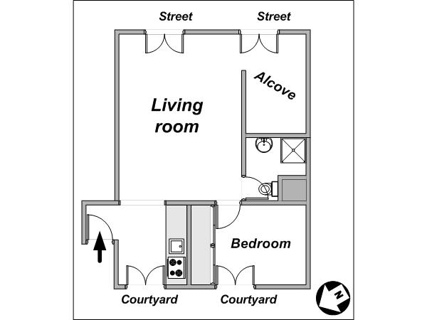 Paris 1 Bedroom accommodation - apartment layout  (PA-4012)