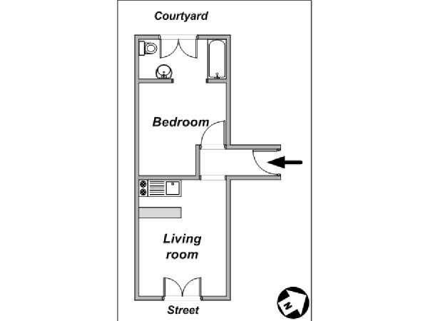 Bon Paris 1 Bedroom Apartment   Apartment Layout (PA 4037)