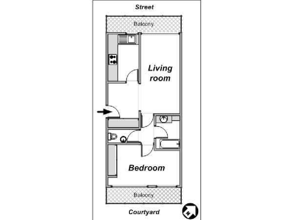 Paris 1 Bedroom apartment - apartment layout  (PA-4078)