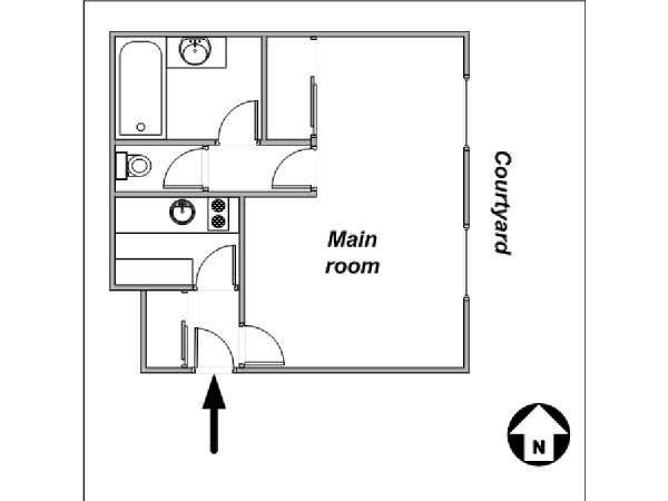 Paris Studio apartment - apartment layout  (PA-4079)