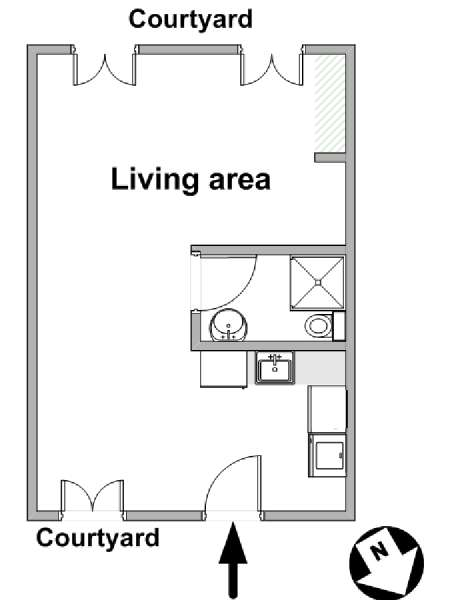 Paris Studio accommodation - apartment layout  (PA-4117)