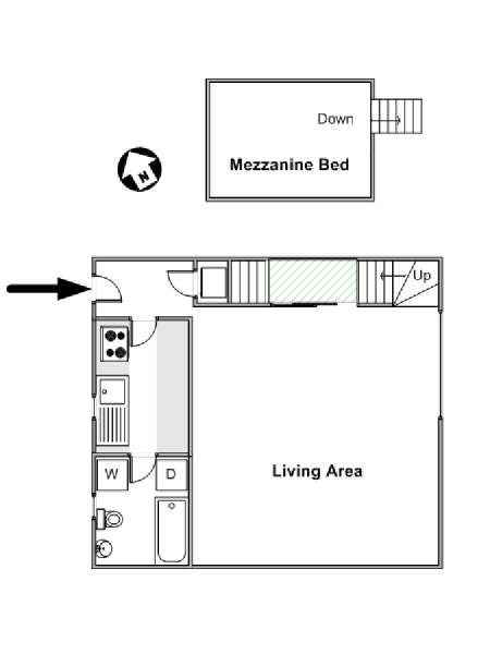 Paris Alcove Studio apartment - apartment layout  (PA-4141)
