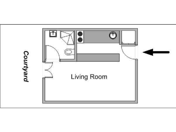 Paris Studio accommodation - apartment layout  (PA-4143)