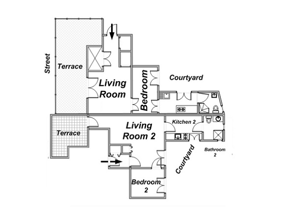 Paris 2 Bedroom apartment - apartment layout  (PA-4166)