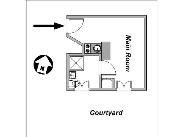Paris Studio apartment - apartment layout  (PA-4170)