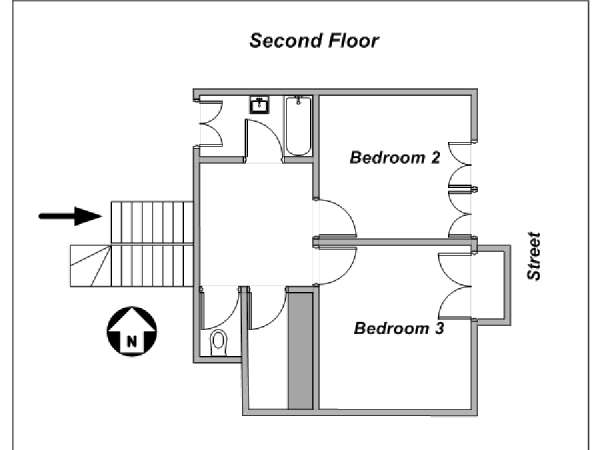 Paris 3 Bedroom - Triplex apartment - apartment layout 3 (PA-4175)