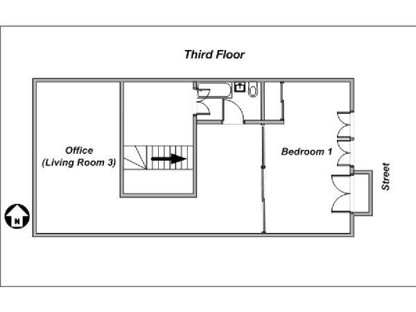 Paris 3 Bedroom - Triplex apartment - apartment layout 4 (PA-4175)
