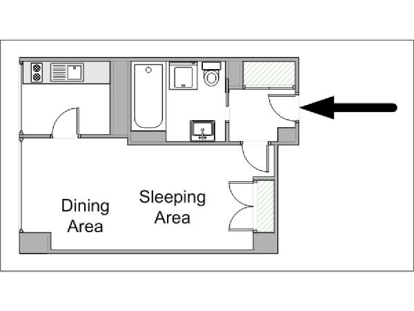 Paris Studio accommodation - apartment layout  (PA-4214)