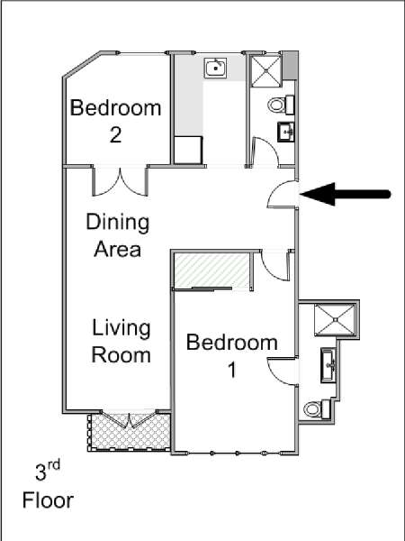Paris 2 Bedroom accommodation - apartment layout  (PA-4227)