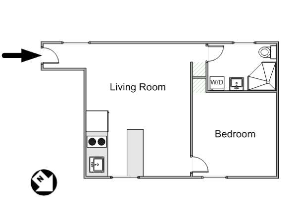 Paris 1 Bedroom accommodation - apartment layout  (PA-4234)