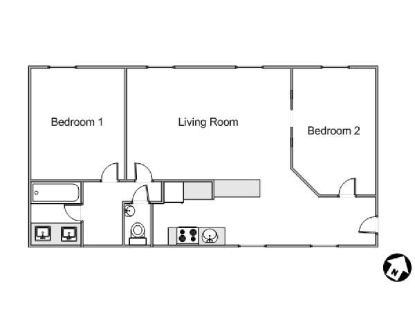 Paris 2 Bedroom apartment - apartment layout  (PA-4238)