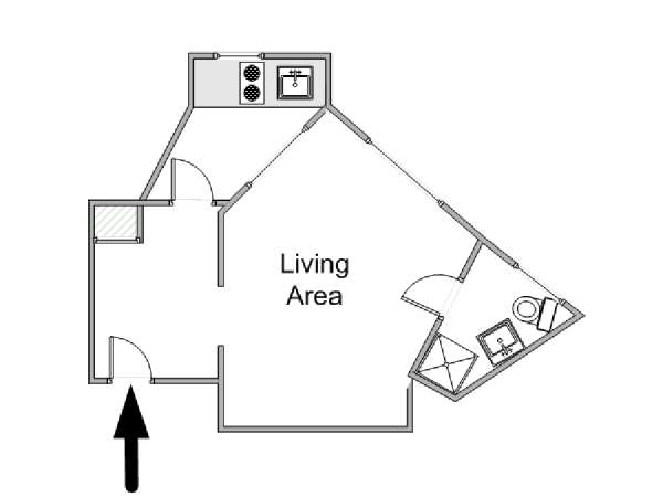 Paris Studio apartment - apartment layout  (PA-4253)
