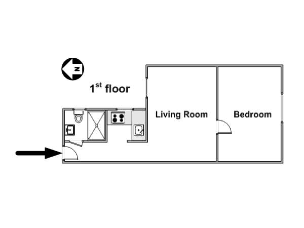 Paris 1 Bedroom accommodation - apartment layout  (PA-4261)