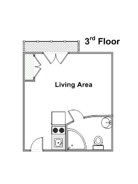 Paris Studio T1 logement location appartement - plan schématique  (PA-4263)