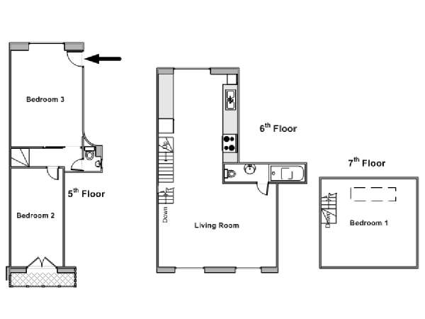 Paris T4 - Loft - Triplex appartement location vacances - plan schématique  (PA-4264)