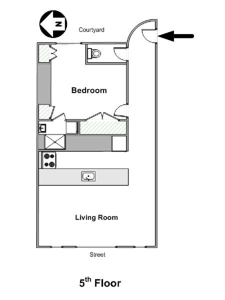 Paris T2 appartement location vacances - plan schématique  (PA-4268)