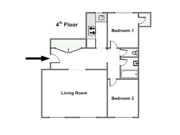 Paris T3 logement location appartement - plan schématique  (PA-4269)