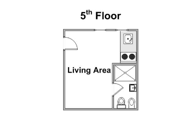 Paris Studio T1 appartement location vacances - plan schématique  (PA-4273)