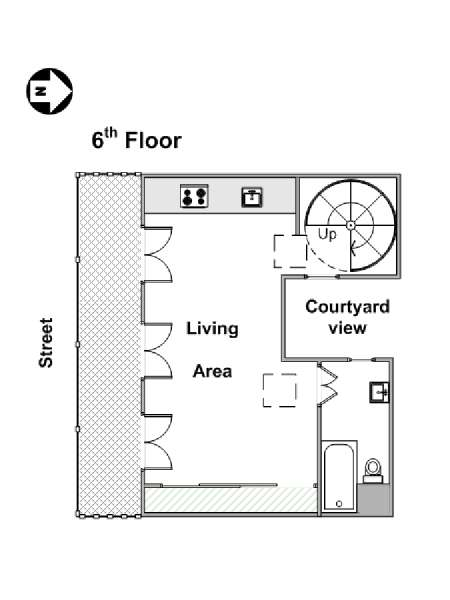 Paris Studio T1 logement location appartement - plan schématique  (PA-4282)