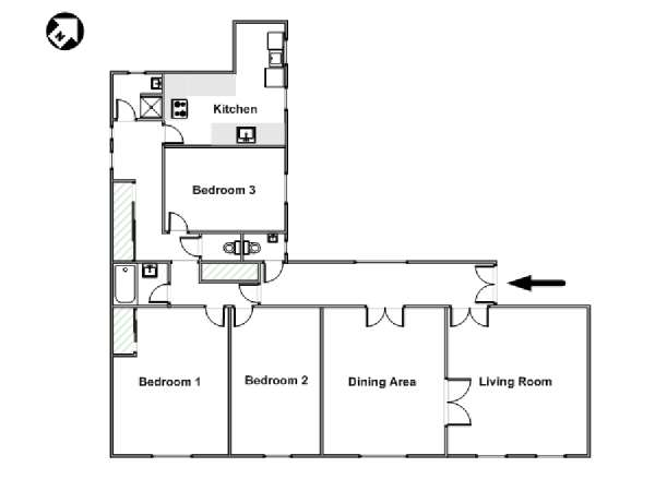 Paris 3 Bedroom accommodation - apartment layout  (PA-4283)