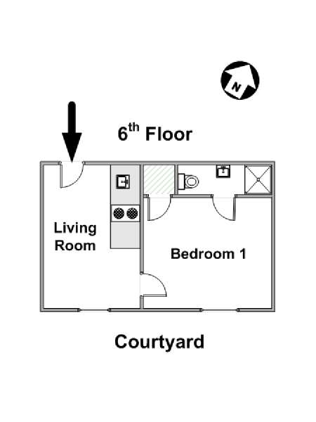 Paris 1 Bedroom apartment - apartment layout  (PA-4284)