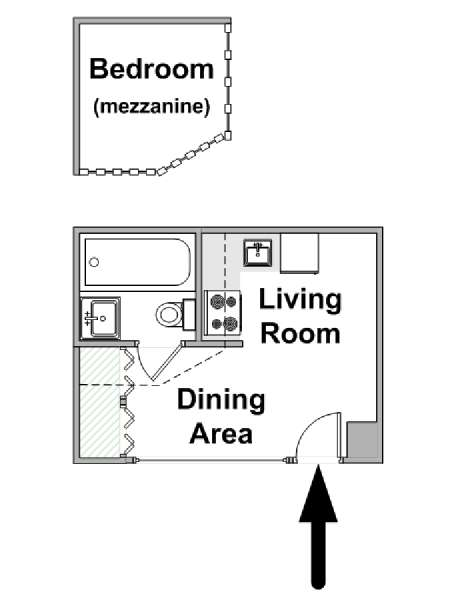 Paris Alcove Studio apartment - apartment layout  (PA-4290)