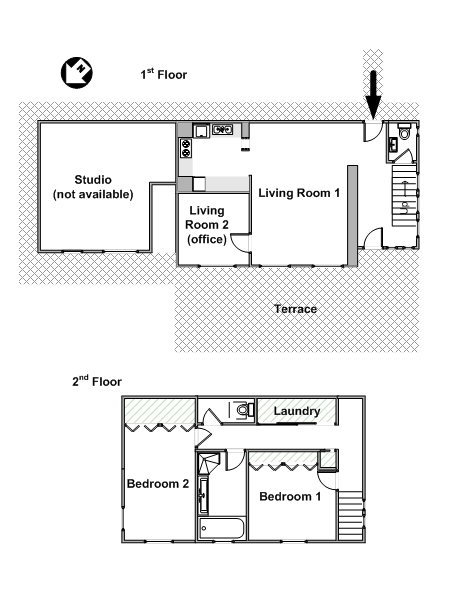 Paris 2 Bedroom - Duplex apartment - apartment layout  (PA-4295)
