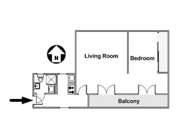 Paris 1 Bedroom apartment - apartment layout  (PA-4303)