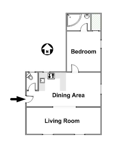 Paris 1 Bedroom accommodation - apartment layout  (PA-4315)