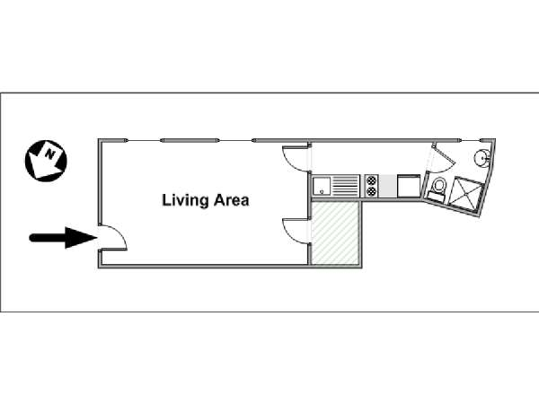 Paris Studio apartment - apartment layout  (PA-4332)