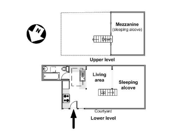 Paris Alcove Studio   Loft Apartment   Apartment Layout (PA 4422)