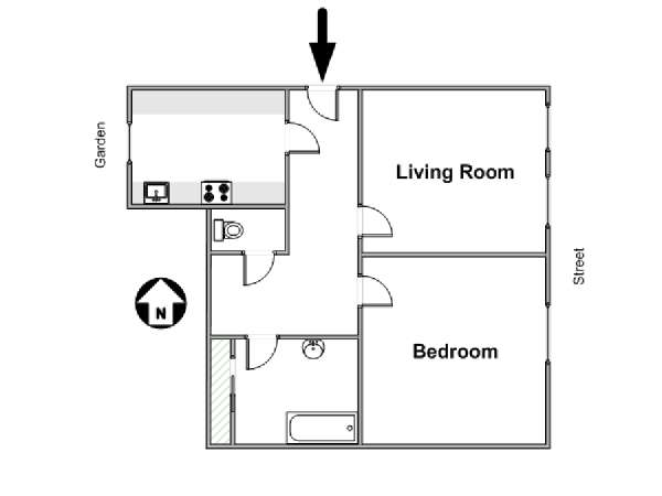 Paris 1 Bedroom accommodation - apartment layout  (PA-4639)