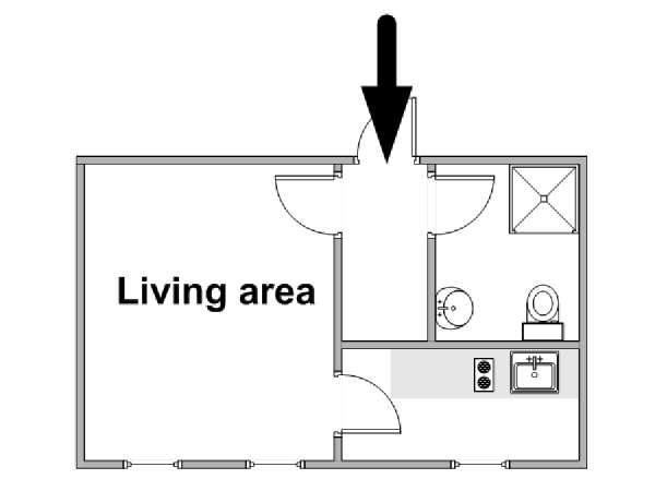 Paris Studio apartment - apartment layout  (PA-4699)