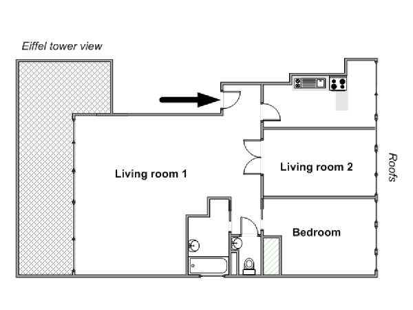 Paris 1 Bedroom apartment - apartment layout  (PA-4706)