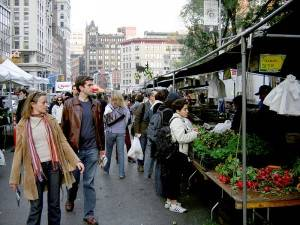 Photo d'un marché bio à New York