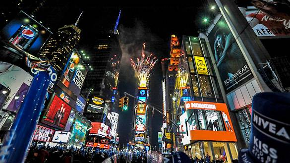 Photo de Times Square le soir du réveillon du Nouvel An, New York
