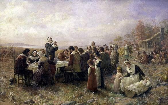 Peinture représentant le premier dîner de Thanksgiving aux États-Unis