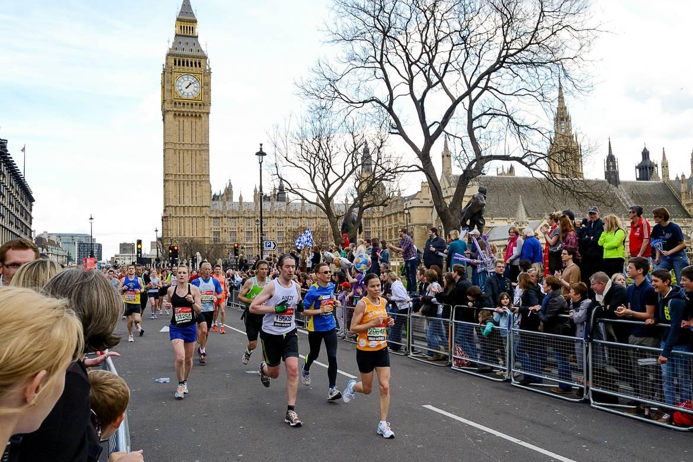 Photo de la ligne d'arrivée du marathon de Londres.