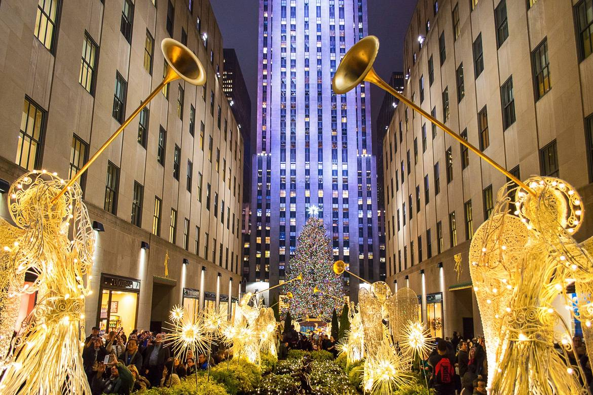 photo du Rockfeller Center à Noël