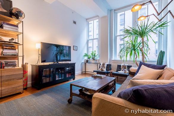 Photo du salon de l'appartement NY-17156 dans le quartier de DUMBO à Brooklyn.