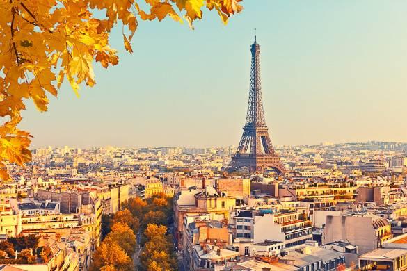 Photo du feuillage d'automne et de la skyline parisienne avec la tour Eiffel