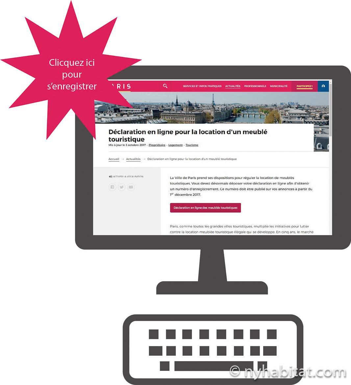 Photo d'un ordinateur avec un fond d'écran du site internet de la mairie de paris dans la section déclaration en ligne pour la location d'un meublé touristique