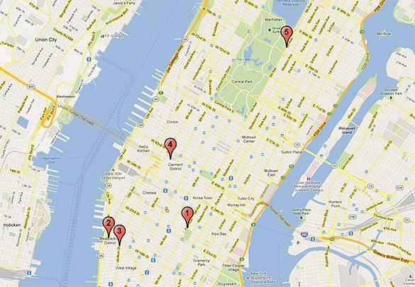 Mappa dei cinque migliori bar sui tetti a New York