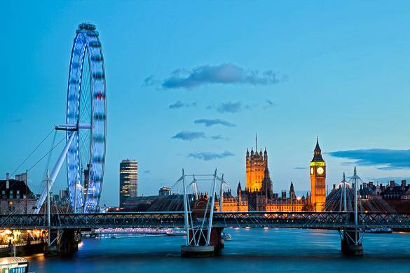Immagine del London Eye e delle Houses of Parliament