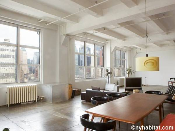 holiday accommodation new york apartment. new york alcove studio - loft apartment living room (ny-11303) photo holiday accommodation m
